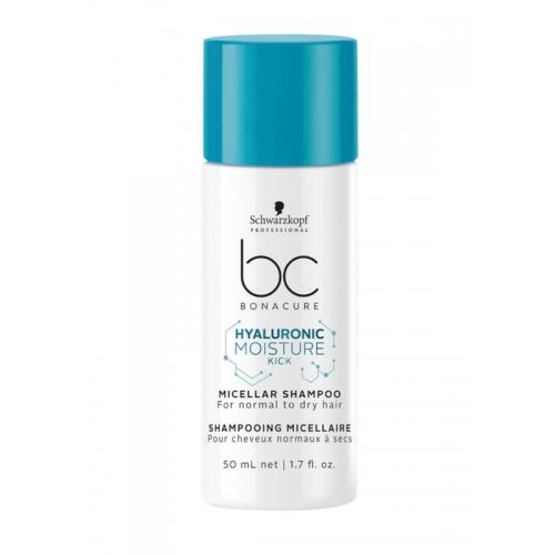 """Увлажняющий мицеллярный шампунь для деликатного очищения нормальных, сухих и вьющихся волос """"Hyaluronic Moisture Kick"""" (Micellar Shampoo for normal to dry hair)50 ml"""